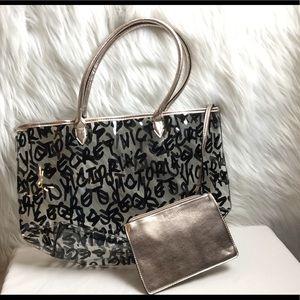 Victoria's Secret clear tote bag/bonus make up bag